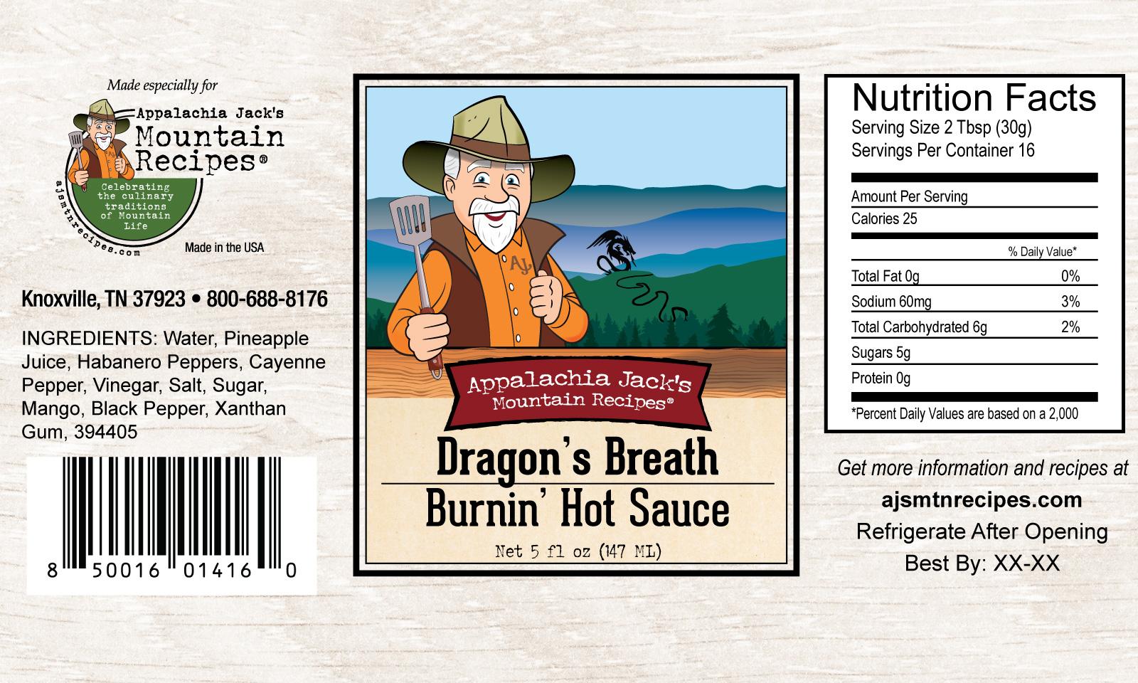 Dragons Breath Hot Sauce - Label