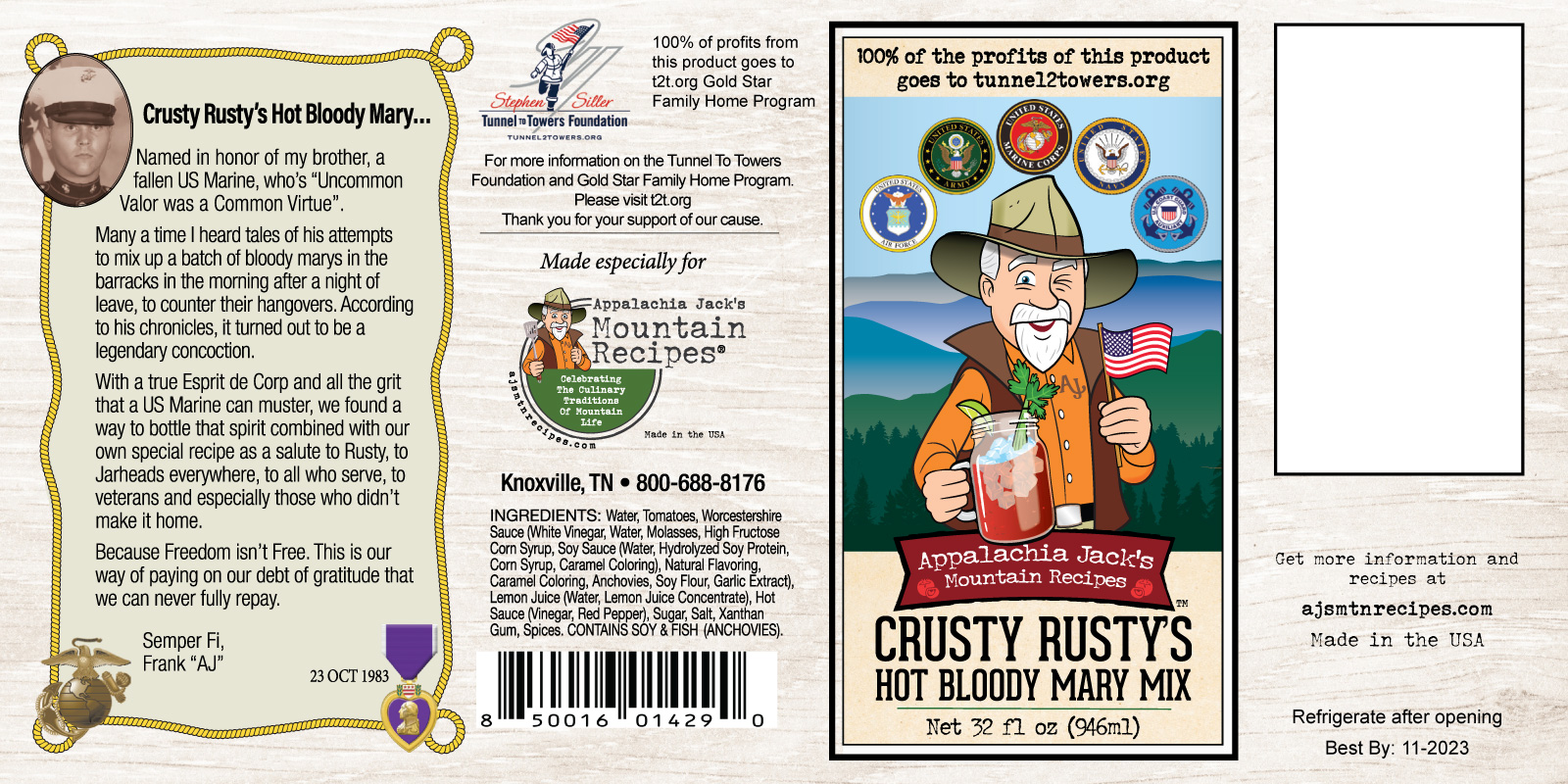 Crusty Rustys Hot Bloody Mary Mix - Label